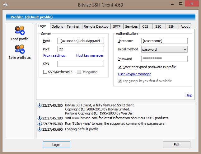 Bitvise configuration